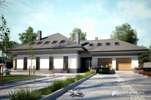 Nowoczesne domy parterowe z garazem dwustanowiskowym